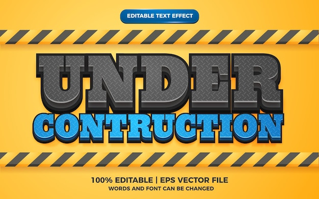 Editable text effect - under construction 3d template style