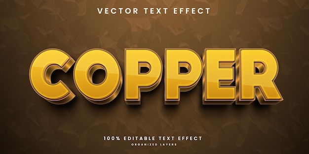 Editable text effect in copper style