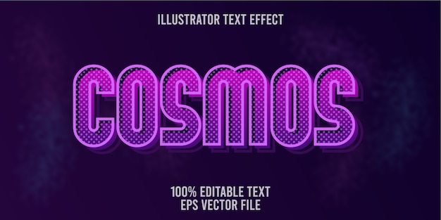 Editable text effect cosmos