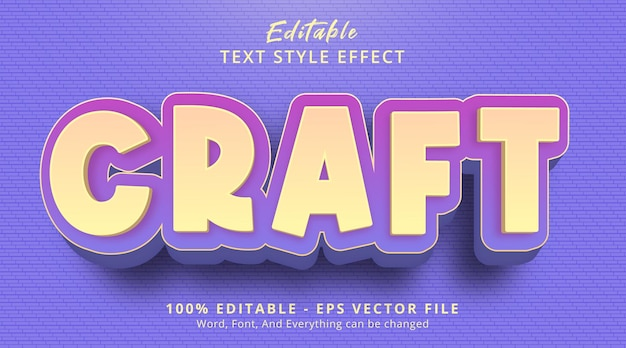 Editable text effect, craft text on girly purple color style effect