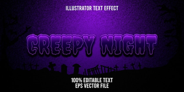 Editable text effect creepy night