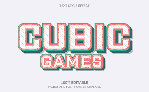 Editable text effect, cubic games text style