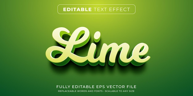 Editable text effect in cursive green lime style
