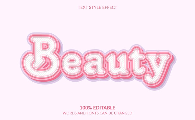 Editable text effect, cute beauty text style