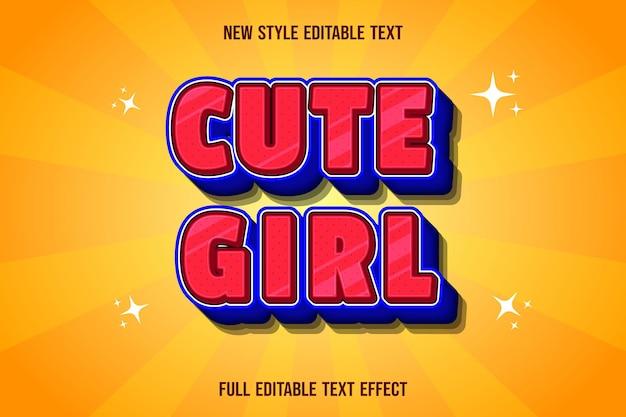 편집 가능한 텍스트 효과 귀여운 소녀 색상 빨강 및 파랑