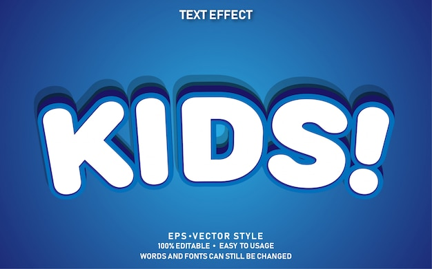 Editable text effect cute kids