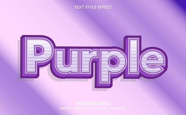 Editable text effect, cute purple text style