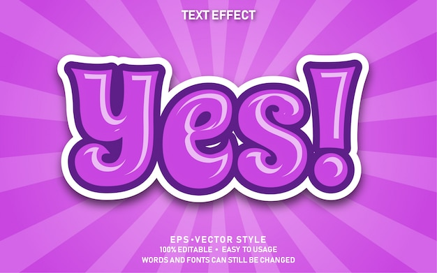 Editable text effect cute yes