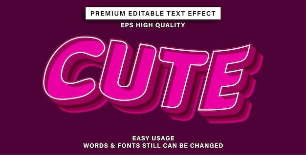 Редактируемый текстовый эффект милый
