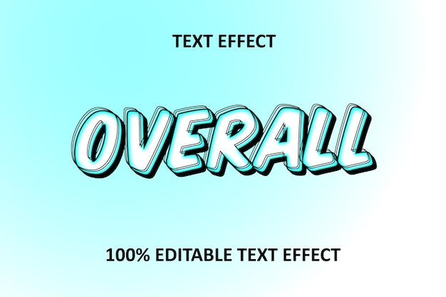 Editable text effect cyan white