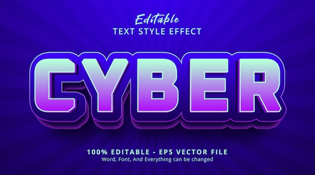 Editable text effect, cyber text on modern color with digital style