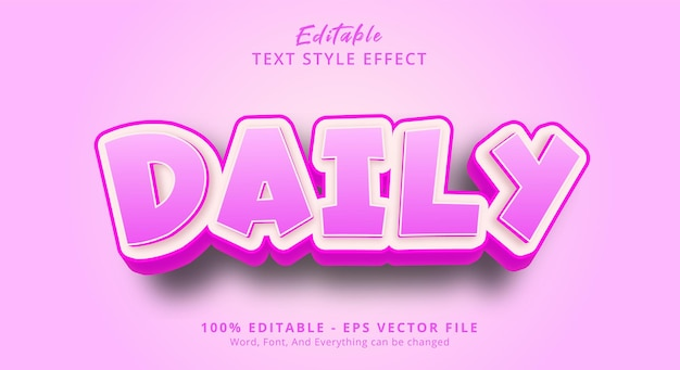편집 가능한 텍스트 효과, 해피 핑크 색상 스타일의 일일 텍스트