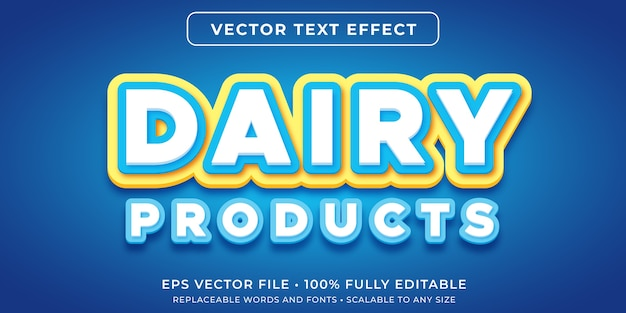 Editable text effect in dairy product text style