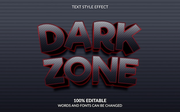 Editable text effect, dark zone gaming text style