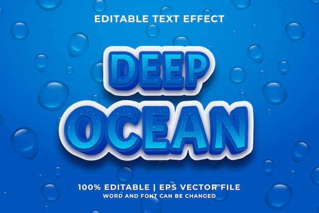 Editable text effect - deep ocean cartoon style 3d template premium vector