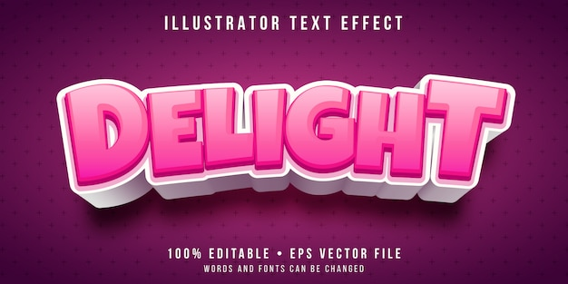 Editable text effect - delightful pink text style