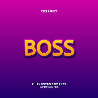 Editable text effect design template boss title style