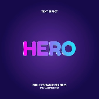 Editable text effect design template hero title style