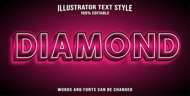 Editable text effect diamond