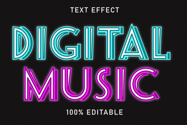편집 가능한 텍스트 효과 digital music