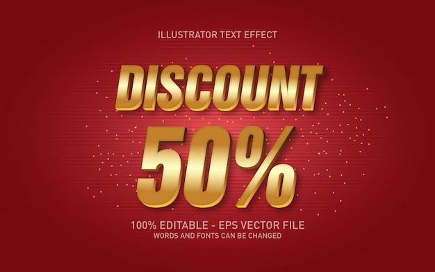 編集可能なテキスト効果、50%割引のゴールドスタイルのイラスト