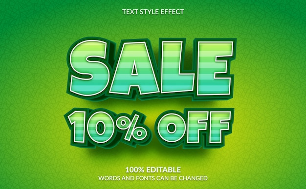 Editable text effect, discount sale 10% off text style