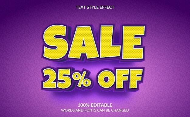 編集可能なテキスト効果、テキストスタイルの25%割引セール