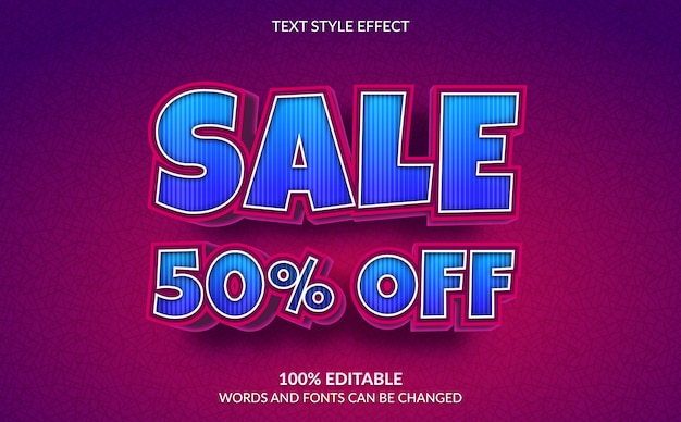 Editable text effect, discount sale 50% off text style