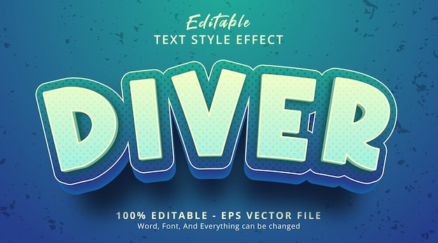 Editable text effect, diver text on cartoon style effect