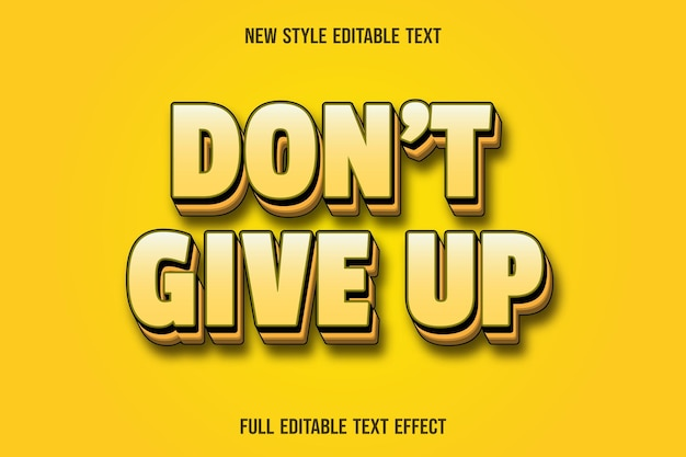 Editable text effect don't give up color yellow gradient