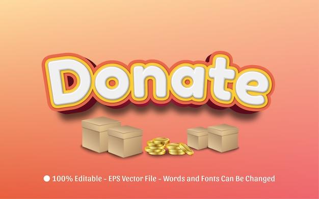 Редактируемый текстовый эффект, иллюстрации в стиле donate
