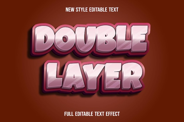 Editable text effect double layer color pink and white