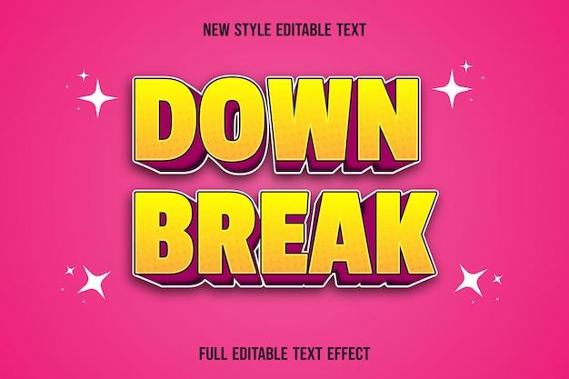 편집 가능한 텍스트 효과 다운 브레이크 색상 노란색과 분홍색