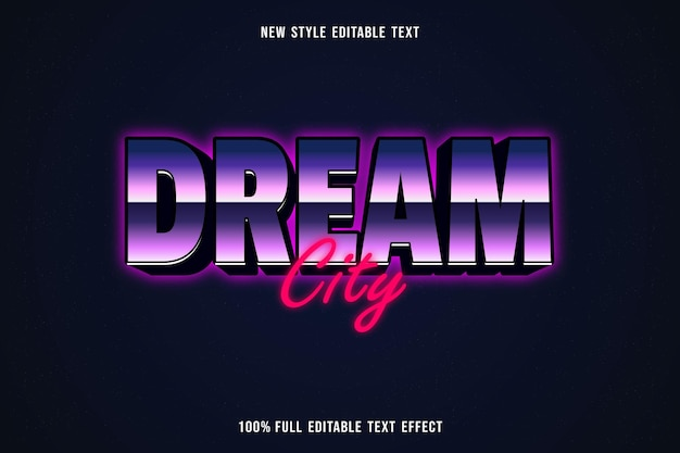 Редактируемый текстовый эффект город мечты в фиолетовых и розовых тонах