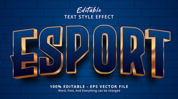 Редактируемый текстовый эффект, текст e sport на логотипе в игровом стиле