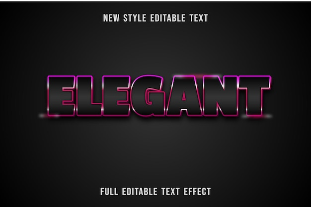 Editable text effect elegant color black and pink