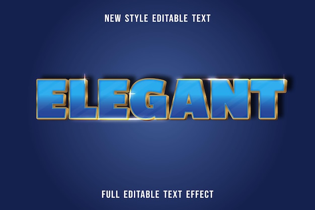 Editable text effect elegant color blue and gold