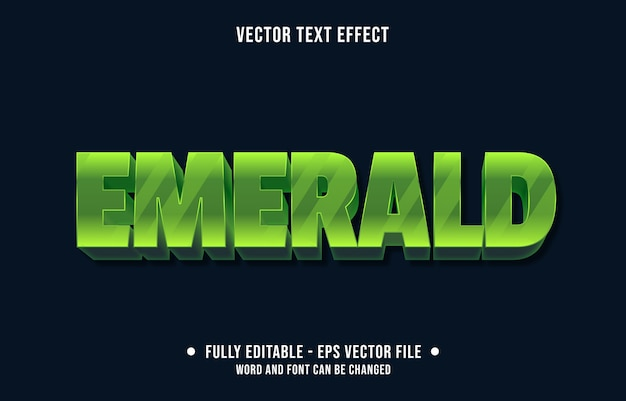 Editable text effect emerald gemstone modern style