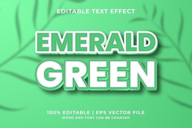 Редактируемый текстовый эффект - стиль изумрудно-зеленого 3d жирного шрифта премиум векторы