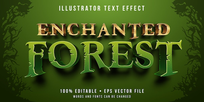 Editable text effect - enchanted forest style