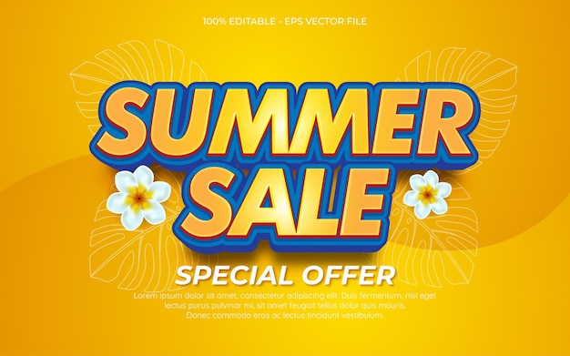 Editable text effect end of summer sale background 01