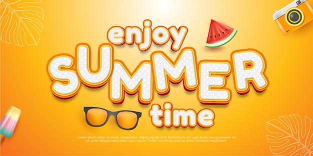 Editable text effect enjoy summer time style illustrations