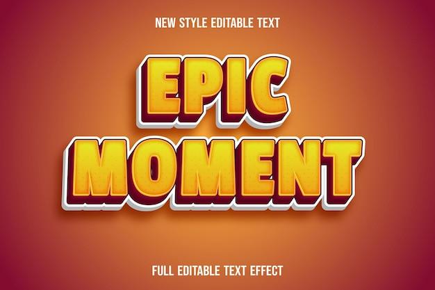 Редактируемый текстовый эффект эпического момента цвета желтый и красный