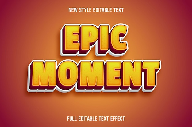 Editable text effect epic moment color yellow and red