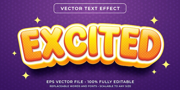 Editable text effect - excitement text style