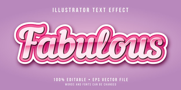 Editable text effect - fabulous pink style