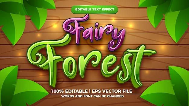 Editable text effect - fairy forest cartoon style 3d template