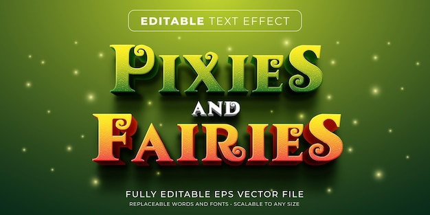 Editable text effect in fairy tale story style