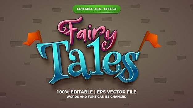 Editable text effect - fairy tales cartoon style 3d template