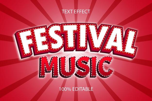 Редактируемый текстовый эффект фестивальная музыка цвет красный
